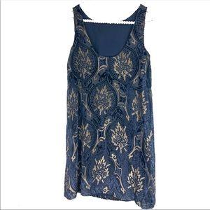 Loft sleeveless velvet scroll dress Sz M